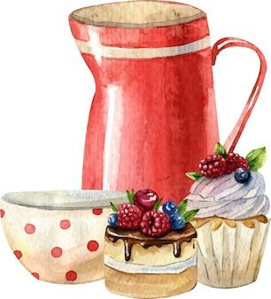 Aquarellzusammensetzung mit teekanne, tasse, kuchen. gemütliches küchendekor. handgemalte illustration. englisches frühstück im vintage-stil