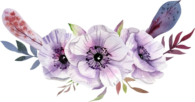 Aquarellzusammensetzung mit weißen und lila blüten, blätter.