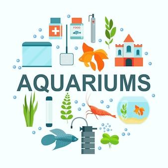 Aquarienausrüstung, aquarienfische, garnelen und burg. vektor-illustration