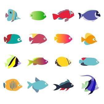 Aquarienfische set isoliert auf weißem hintergrund sammlung von exotischen fischen
