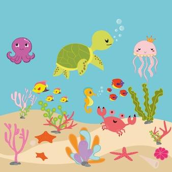 Aquarium cartoon oder ozean unterwasser-cartoon