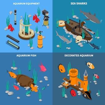 Aquarium konzept icons set