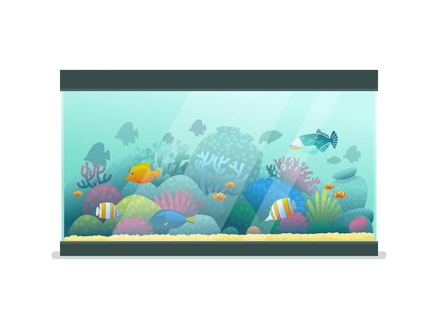 Aquarium mit seefischen auf einem isolierten hintergrund. vektorillustration im cartoon-stil