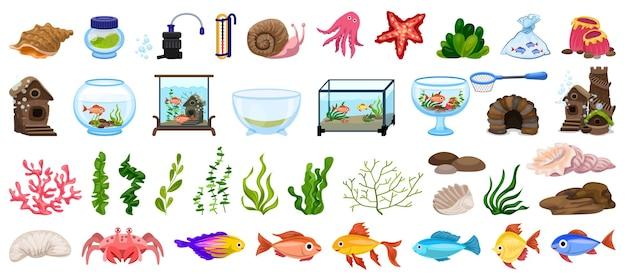 Aquarium symbole gesetzt. karikatursatz von aquariumikonen für webdesign