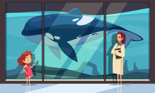 Aquariumwand mit einem orca