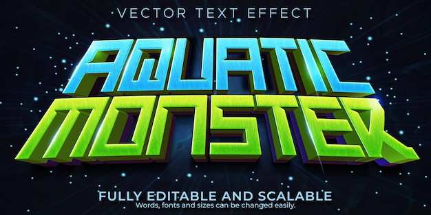 Aquatischer monstertexteffekt, bearbeitbarer ozean- und meerestextstil