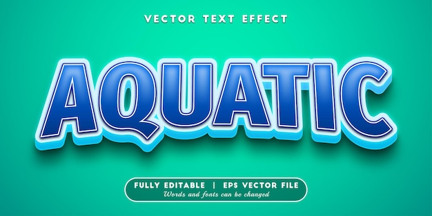 Aquatischer texteffekt mit bearbeitbarem textstil Premium Vektoren