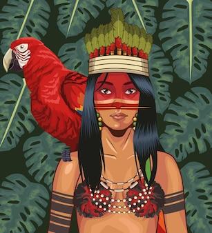 Ara der indigenen frau auf der schulter