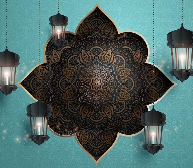 Arabesque blumenmuster mit hängenden papierfanoos