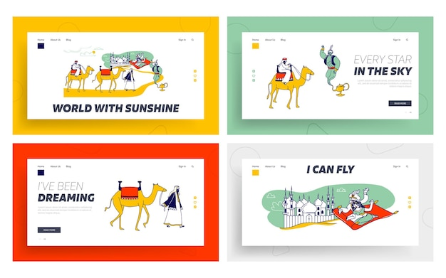 Arabian fairytale landing page template set.