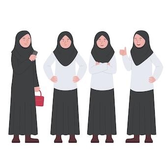 Arabian hijab business woman set charakter cartoon