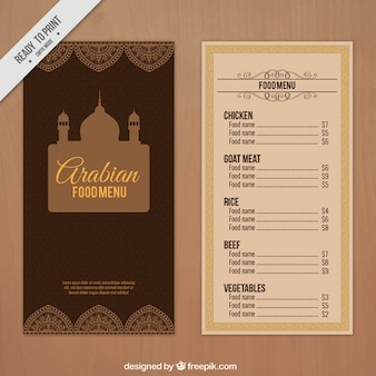 Arabian menü mit einem palast zeichnung