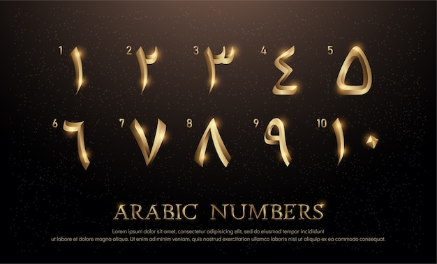 Arabian number font set von eleganten goldfarbenen metall-chrom Premium Vektoren