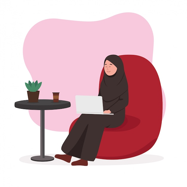 Arabian woman remote worker