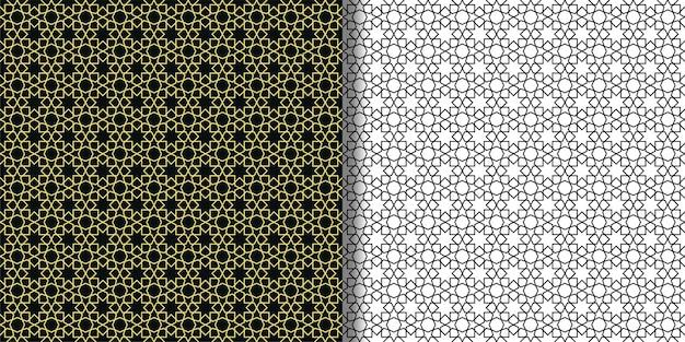 Arabische abstrakte sterne nahtlose muster eingestellt vektor-wiederholungstapeten für textildrucke