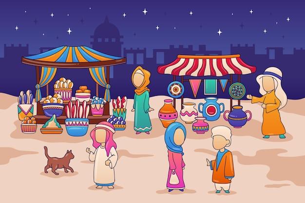 Arabische basarillustration mit kaufleuten und kunden