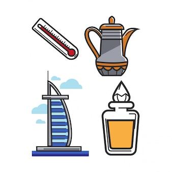 Arabische emirate uae reisesymbole und sehenswürdigkeiten oder tourismusattraktionen vektorelementsatz