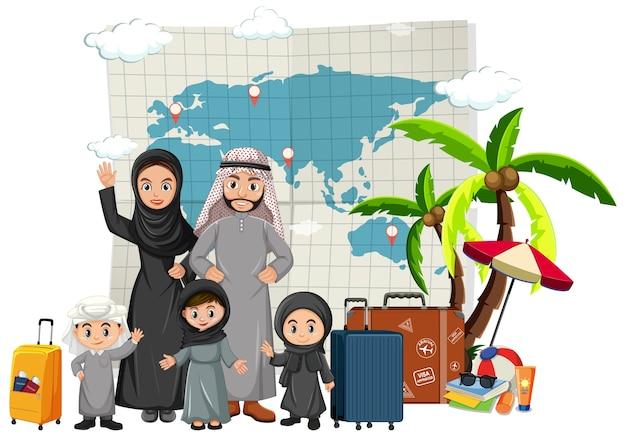 Arabische familie im urlaub