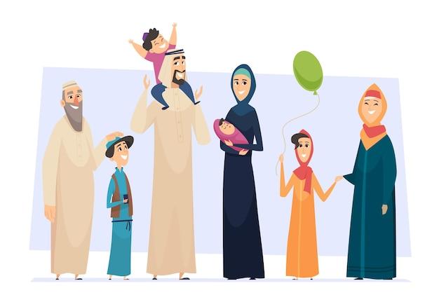 Arabische familie. männliche und weibliche muslimische glückliche personen vater mutter kinder und ältere senioren