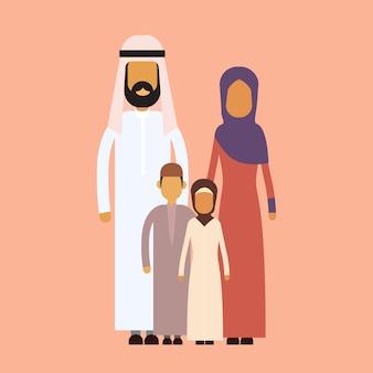 Arabische familie vier personen, arabische eltern zwei kinder