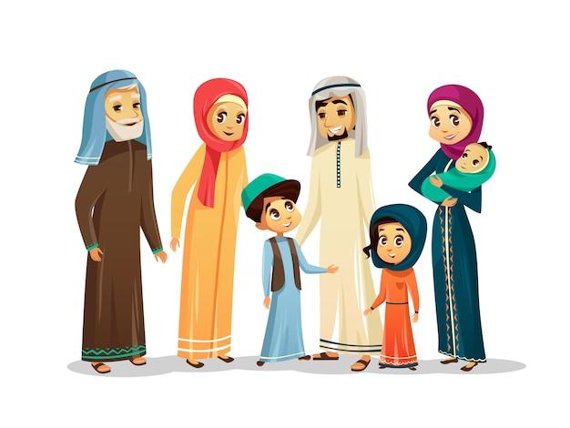 Arabische familie zeichen der vektorkarikatur eingestellt