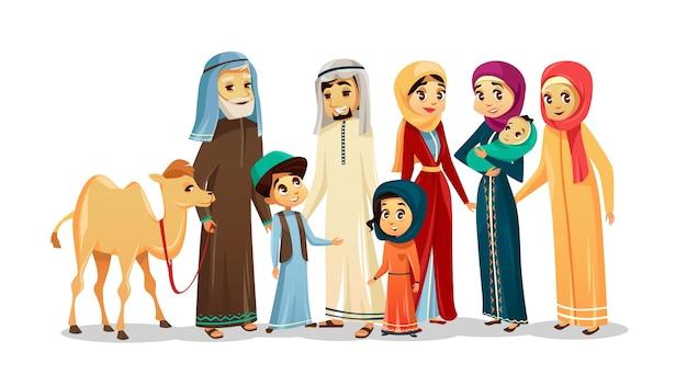 Arabische familiencharaktere der vektorkarikatur, kamelsatz