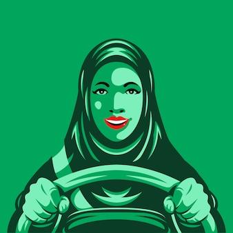 Arabische frau, die eine autoillustration fährt Premium Vektoren