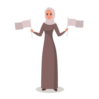 Arabische frau, die flaggen mit zwei händen darstellt