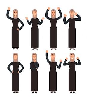 Arabische frau, die mit verschiedenen handzeichen und gesichtsgefühlen steht. weibliche muslimische figuren festgelegt