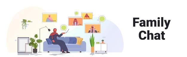 Arabische frau, die virtuelles treffen mit familienmitgliedern in webbrowser-fenstern während des videoanruf-online-kommunikationskonzepts wohnzimmerinnenraum horizontal hat