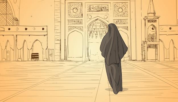 Arabische frau, die zur moschee kommt, die moslemische religion ramadan kareem holy month errichtet