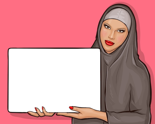 Arabische frau im hijab mit anschlagtafel