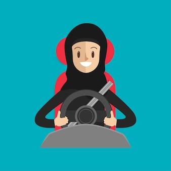 Arabische frau mit einem sicherheitsgurt, der auf dem weg ein auto antreibt.