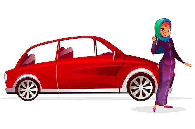Arabische frau und auto cartoon illustration. modernes reiches mädchen in saudi-arabien hijab