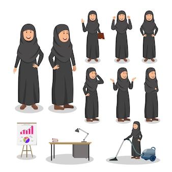 Arabische frauen-gesetzte charakter-karikatur-illustration