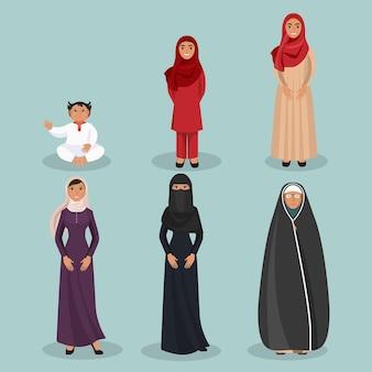 Arabische frauengenerationen vom kind bis zur älteren person in traditioneller ethnischer kleidung für alle altersgruppen und sozialen status isolierte vektorgrafiken.