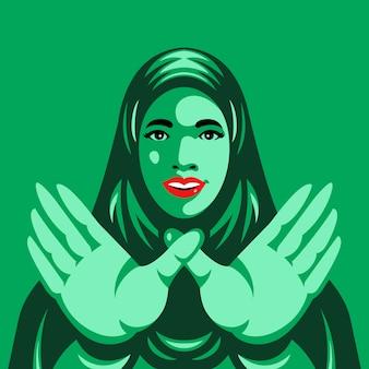 Arabische frauentoleranz vereinigt uns handzeichenillustration