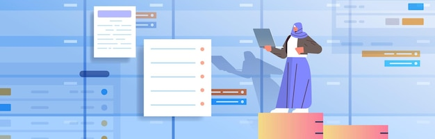 Arabische geschäftsfrau, die an laptop-geschäftsplanung multitasking-zeitmanagement-konzept arbeitet