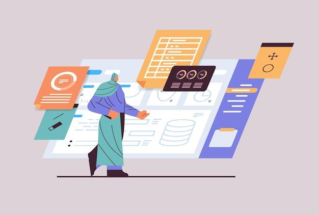 Arabische geschäftsfrau, die diagramme und diagramme analysiert, datenanalyseprozess, digitale marketingplanung, unternehmensstrategiekonzept, horizontale vektorillustration in voller länge
