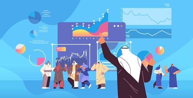 Arabische geschäftsfrau, die finanzielle präsentation macht, die diagramme und diagramme analysiert, datenanalyse plant, unternehmensstrategiekonzept horizontale vektorillustration