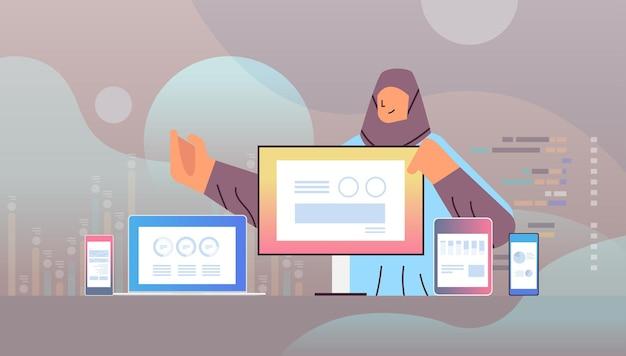 Arabische geschäftsfrau, die finanzstatistikdiagramme und grafiken auf digitalen geräten analysiert datenanalyseplanung unternehmensstrategiekonzept porträt horizontale vektorillustration