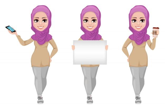 Arabische geschäftsfrau, eingestellt.