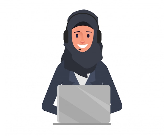 Arabische geschäftsfrau im call-center-charakter.