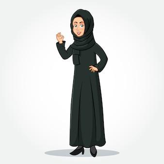 Arabische geschäftsfrau-karikaturfigur in traditioneller kleidung, die okay / ok-zeichen gestikulierende hand zeigt