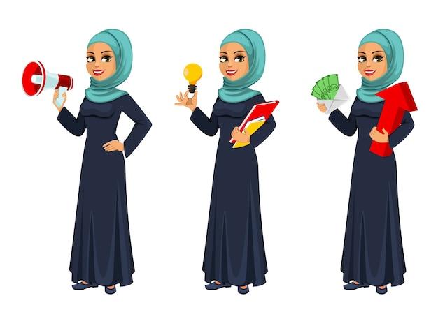 Arabische geschäftsfrau, satz von drei posen