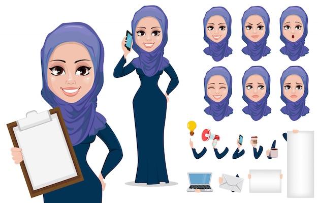 Arabische geschäftsfrau-zeichentrickfilm-figur
