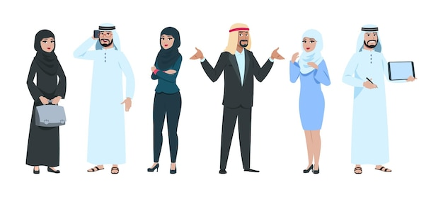 Arabische geschäftsleute. elegante saudische frau und mann in formeller kleidung. isolierte muslimische weibliche männliche charaktere. arabische gruppe, geschäftsmannteamvektorillustration. saudisches muslimisches volk, mann und frau