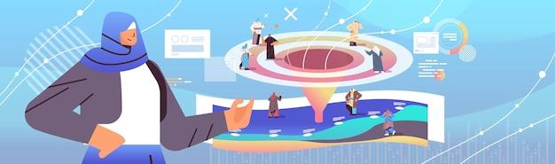 Arabische geschäftsleute kunden oder mitarbeiter verkaufstrichter kegel internet-marketing-konzept horizontale vektorillustration