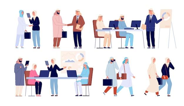 Arabische geschäftsleute. saudi-mann-treffen-partner, formeller händedruck im büro. muslimische frau im job, flache islamische arbeitsteam-vektorillustration. saudi-arabisches treffen, partnerschaft mit geschäftsleuten
