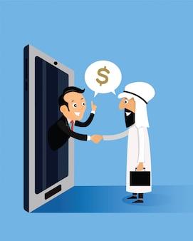 Arabische geschäftsmänner, die hände mit geschäftsmännern halten, kommen aus smartphones heraus